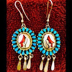 Vtg Native American Multistone Inlay .925 Earrings
